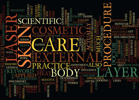 LASER SKIN CARE Text Background Word Cloud Concept Ilustração
