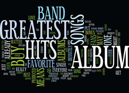 GREATEST HITS Text Background Word Cloud Concept