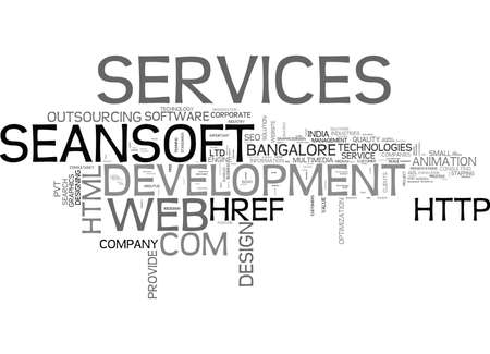 IT-DIENSTEN BANGALORE WEBONTWIKKELING BEDRIJF BANGALORE SEO-SERVICES Tekstachtergrond Word Cloud Concept Stock Illustratie