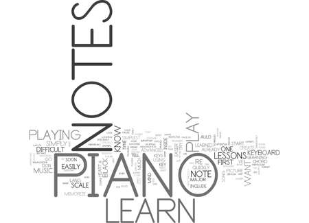 LEARN PIANO NOTES Text Background Word Cloud Concept