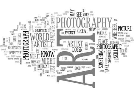ES EL ART DE LA FOTOGRAFÍA Fondo de texto Concepto de la nube de la palabra Ilustración de vector