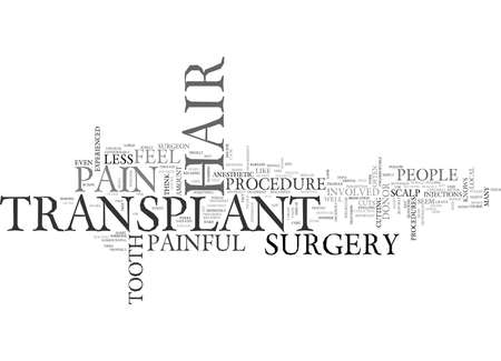 IS HAIR TRANSPLANT PAINFUL Text Background Word Cloud Concept