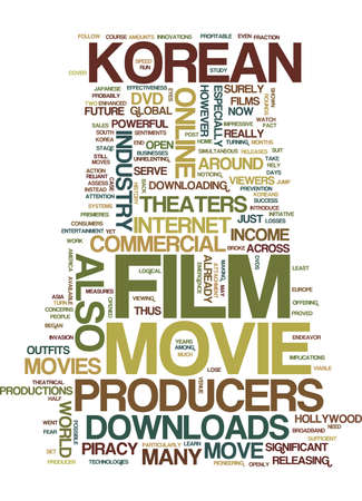 KOREAN FILM PRODUCERS TURN TO MOVIE DOWNLOADS Text Background Word Cloud Concept
