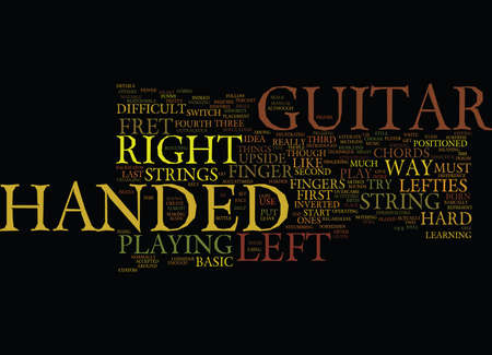 LEARN HOW TO PLAY A LEFT HANDED GUITAR Text Background Word Cloud Concept