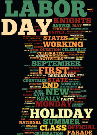 LABOR DAY WHAT IS IT AND WHY DO WE CELEBRATE IT Text Background Word Cloud Concept