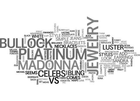 IT S MADONNA VS BULLOCK IN JEWELRY STYLES Text Background Word Cloud Concept Illustration