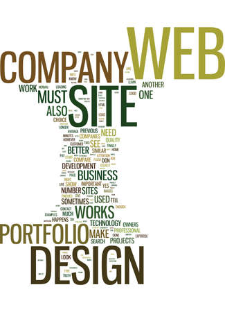 LEARN THE TRUTH ABOUT YOUR WEB DESIGN COMPANY BY ITS PORTFOLIO Text Background Word Cloud Concept