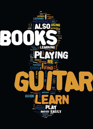 LEARN TO PLAY GUITAR BOOKS Text Background Word Cloud Concept Ilustração