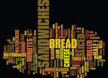 GRILLED CLUB SANDWICHES Text Background Word Cloud Concept Ilustração