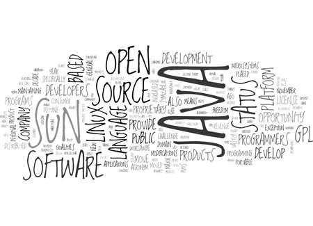 JAVA GOES OPEN BRON Tekst Achtergrond Word Cloud Concept Stock Illustratie