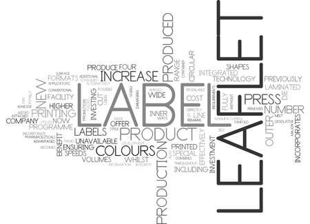 ensuring: LEAFLET LABEL DEVELOPMENT Text Background Word Cloud Concept Illustration