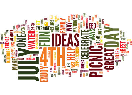 GREAT IDEAS FOR TH OF JULY PICNIC IDEAS Text Background Word Cloud Concept Illusztráció