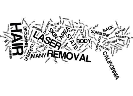 LASER HAIR REMOVAL IN CALIFORNIA Text Background Word Cloud Concept Çizim