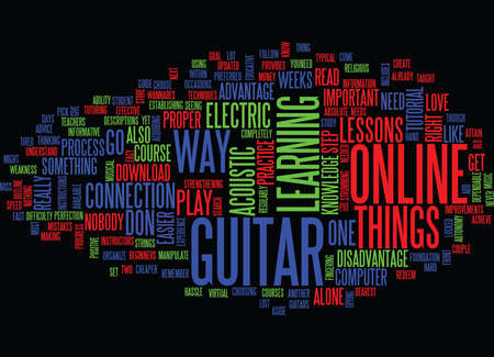 LEARN TO PLAY THE GUITAR ONLINE Text Background Word Cloud Concept Illustration