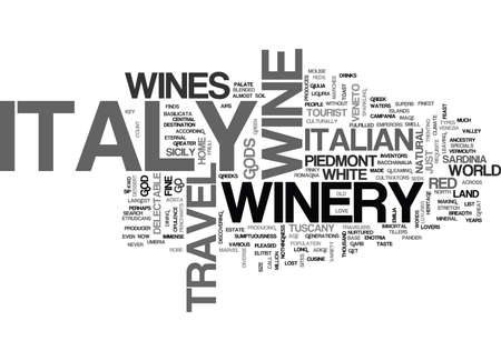ITALY TRAVEL WINERY Text Background Word Cloud Concept Illustration