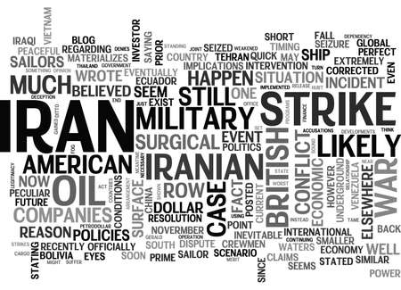 IS WAR WITH IRAN IMMINENT Text Background Word Cloud Concept