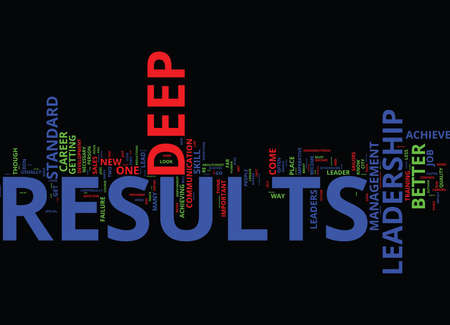 LEADERSHIP FOR DEEP RESULTS A NEW LOOK AT YOUR CAREER Text Background Word Cloud Concept