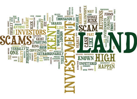 LAND SCAMS INVEST IN LAND WITH YOUR EYES WIDE OPEN Text Background Word Cloud Concept Illustration
