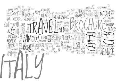 イタリア旅行パンフレット本文背景単語雲概念