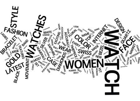 LATEST TOP WOMENS WATCHES TO HIT THE MARKET Text Background Word Cloud Concept