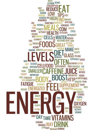 GREAT TIPS TO INCREASE ENERGY LEVELS Text Background Word Cloud Concept