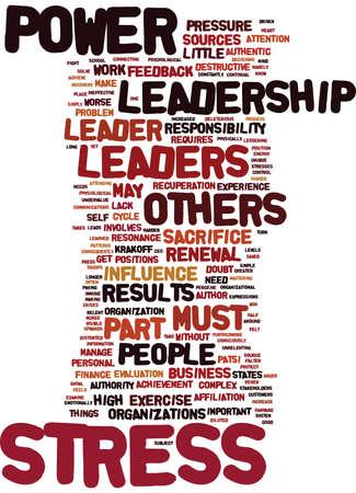 LEADERSHIP POWER STRESS PART SOURCES Text Background Word Cloud Concept