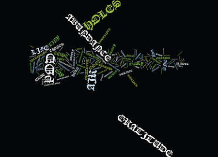 GRATITUDE IS THE KEY TO ABUNDANCE Text Background Word Cloud Concept Vectores