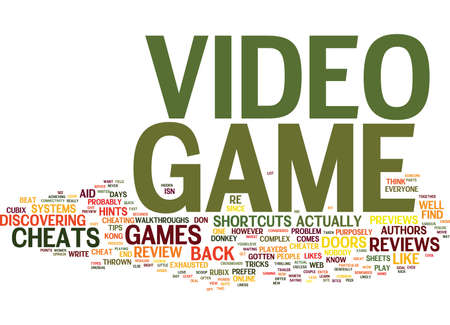 LEARN THE INSIDE SCOOP TO VIDEO GAME CHEATS REVIEWS AND PREVIEWS Text Background Word Cloud Concept