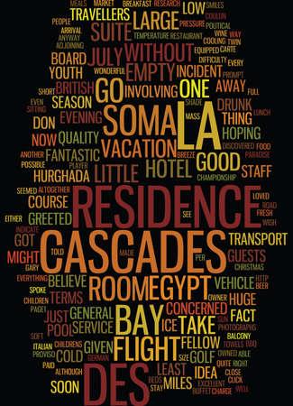 LA RESIDENCE DES CASCADES SOMA BAY EGYPT Text Background Word Cloud Concept