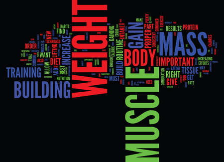 LEARN TO GAIN WEIGHT AND BUILD MUSCLE Text Background Word Cloud Concept Иллюстрация