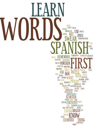 LEARN SPANISH WORDS IT S A BREEZE Text Background Word Cloud Concept