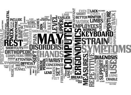 LEARN HOW TO DEAL WITH REPETITIVE STRAIN INJURY RSI Text Background Word Cloud Concept Vectores
