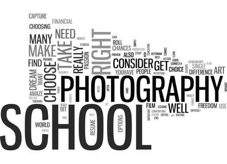 IS PHOTOGRAPHY SCHOOL YOUR DREAM Text Background Word Cloud Concept Ilustração