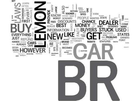 IS YOUR CAR A LEMON Text Background Word Cloud Concept Ilustração