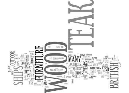 IS TEAK HOUT OUTDOOR MEUBELEN RECHT VOOR ME Tekstachtergrond Word Cloud Concept