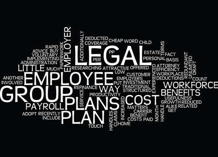 GROUP LEGAL PLANS BENEFITS FOR EMPLOYER AND EMPLOYEE Text Background Word Cloud Concept Illustration