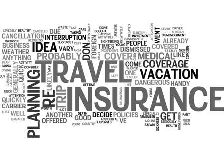 IS TRAVEL INSURANCE A WASTE OF MONEY Text Background Word Cloud Concept Ilustrace