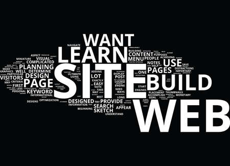 LEARN TO BUILD A WEB SITE Text Background Word Cloud Concept