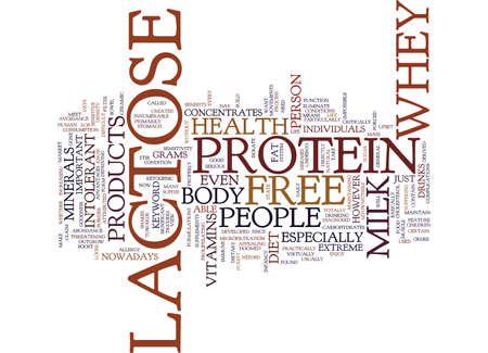 LACTOSE FREE WHEY PROTEIN Text Background Word Cloud Concept
