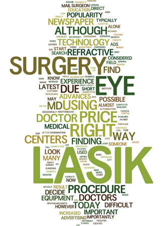 LASIK MD HOW TO FIND THE RIGHT DOCTOR Text Background Word Cloud Concept