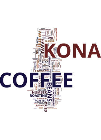 kona: KONA COFFEE Text Background Word Cloud Concept Illustration