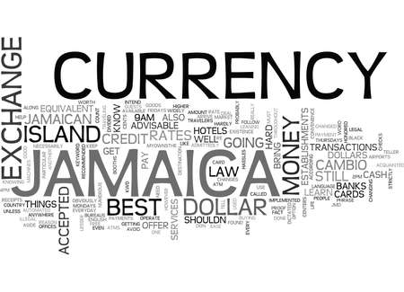 JAMAICA CURRENCY Text Background Word Cloud Concept Ilustração