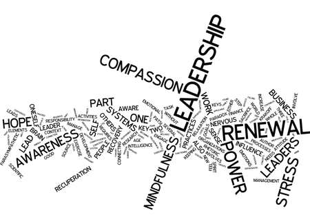 LEADERSHIP POWER STRESS PART THREE KEYS TO RENEWAL Text Background Word Cloud Concept