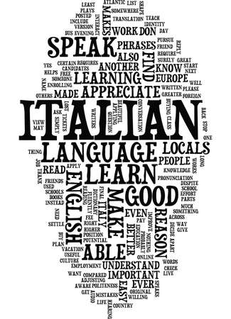 GREAT REASONS WHY YOU SHOULD LEARN ITALIAN Text Background Word Cloud Concept