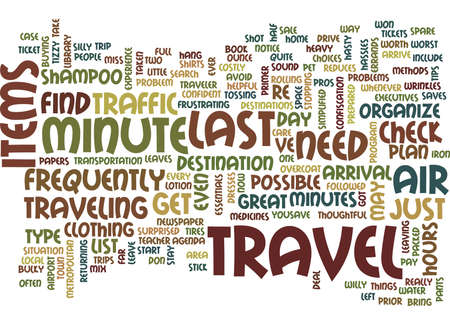 LAST MINUTE TRAVEL Text Background Word Cloud Concept