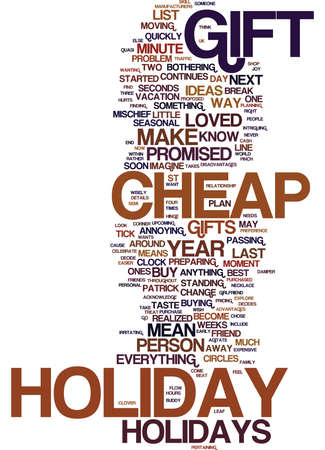 LAST MINUTE GIFTS FOR CHEAP HOLIDAYS Text Background Word Cloud Concept