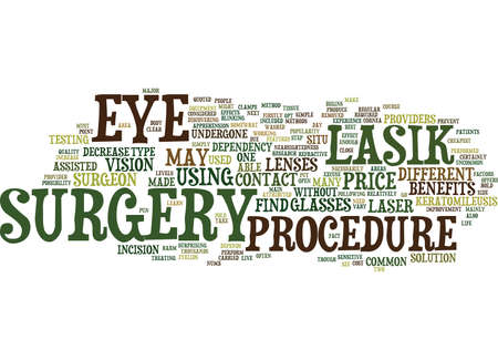 LASIK EYE SURGERY AND THE BENEFITS OF THE PROCEDURE Text Background Word Cloud Concept