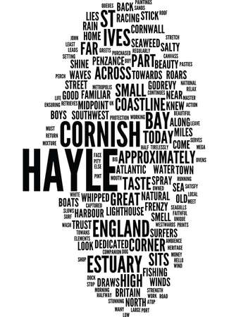 LANDSCAPES OF ENGLAND HAYLE Text Background Word Cloud Concept