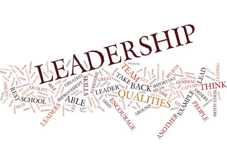 LEADERSHIP QUALITIES Text Background Word Cloud Concept