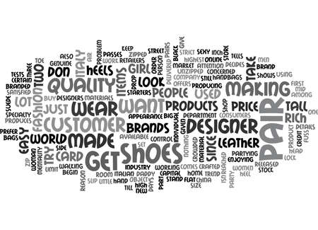 ITALIAN DESIGNER SHOES Text Background Word Cloud Concept